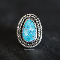 Size 7 Sterling Silver Morenci Turquoise Ring, Southwestern Ring, Native American Jewelry, Oxidized, Rope Ring, Ready To Ship!