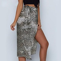 Wrap Bow Satin Midi Skirt Women Split Sexy Leopard Print High Waist Skirts High Fashion Skirt