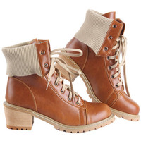ROMWE   Lace Up Light Brown Ankle Boots, The Latest Street Fashion
