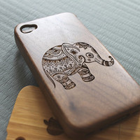 Walnut wood iphone 4 case iphone 4s case elephant iphone 4 case