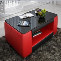 Contemporary Red and Black Leather Coffee Table w/Black Glass