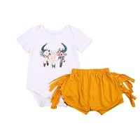 born Baby Girls Deer Tops Short Sleeve Romper +Tassels Pants Shorts Outfits Clothes 0-24M Sunsuit Clothing