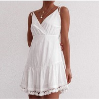 Sexy Backless Boho Cotton Dresses Women Spaghetti Strap White Mini Dress Tassel V Neck Ruffles Beach Sundress