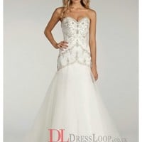 Beaded Elongated Bodice With Sweetheart Neckline Modified A-Line Bridal Gown LL4405