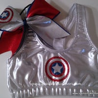 Cap'n Am Super Hero Metallic Sports Bra and Bow Set Cheerleading