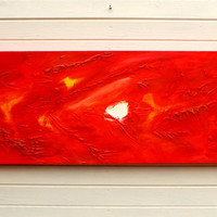 Original Modern Abstract Art Painting Textured Red Acrylic on Canvas Wide