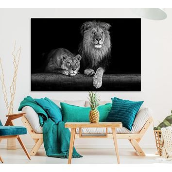 Large Black and White Lion Couple Wall Art Canvas Print