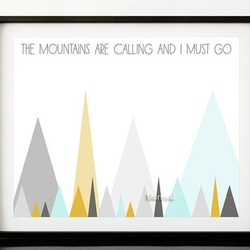 "Geometric print, quote printable: ""the mountains are calling and I must go"", pastel triangles print, abstract mountains - ab 005"