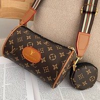 LV Louis Vuitton Hot Selling Classic Print Letter Two-piece Crossbody Bag Shoulder Bag Round Small Wallet