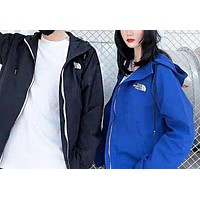 The North Face Fashion New Bust Embroidery Letter Sports Leisure Women Men Hooded Long Sleeve Coat