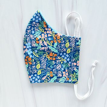 Meadow Floral Blue Face Mask - Choose Your Size