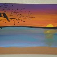 """Hand painted wood framed canvas 12""""x24"""" - Sunset on the water"""