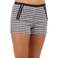 Black/White Houndstooth Shorts
