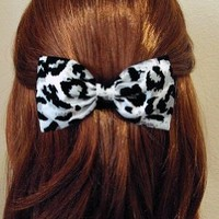Snow White Leopard Print Hair Bow Barrette