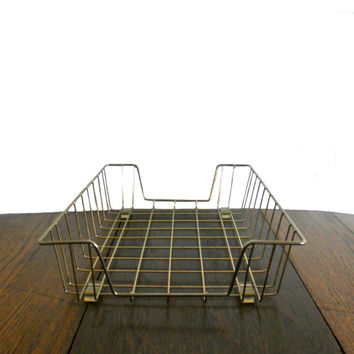 Vintage Industrial Wire Basket Tray - Office Supply - File Organizer - Mid Century - Brass Gold Color