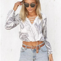 White Leaf Print Lace Up Long Sleeve Crop Top