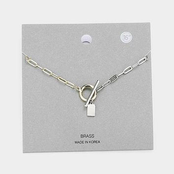 Brass Metal Id Bar Pendant Toggle Necklace