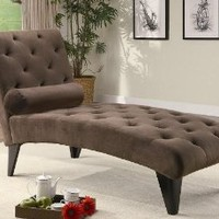 Coaster Palmer Velour Chaise in Chocolate
