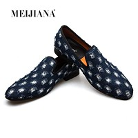 MEIJIANA New Brand Mens Loafers Luxury Shoes With Denim And Metal Sequins High Quality Casual Men Shoes