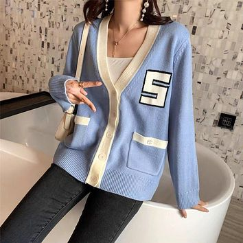 """""""Thom Browne"""" Spring Summer French Women Temperament Multicolor S Letter Long Sleeve V-Neck  Cardigan Knitwear Sweater Coat"""