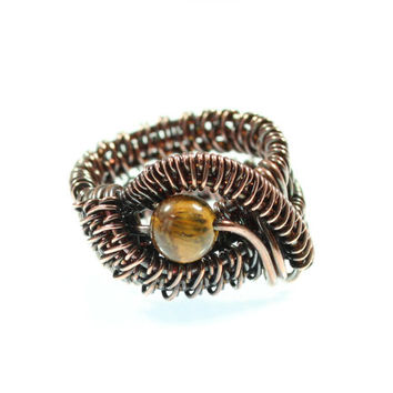 Tiger's Eye Ring, Wire Wrapped, Size 6 and Half, Eye Ring, Woven Wire, OOAK, Copper Wrap, Unisex, Men, Wide Band