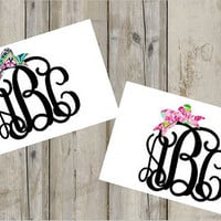 Lilly Pulitzer Inspired Bow Monogram Decal - Custom Decal - Vinyl Decal - Monogram Decal - Preppy - Lilly - Pattern - Any Size - Custom