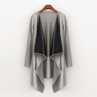 Autumn Women Leather Outerwear Jacket Windbreaker a13035