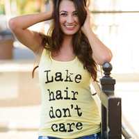 LAKE HAIR DON'T CARE TANK- YELLOW