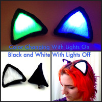 Glowing Multicolor Clip On Costume Cat Ears, COLOR CHANGING Cosplay Ravewear Glow Festival Outfit. Light Up LED Edc Burning Man Accessory