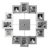 Present Time Photo Frame Clock Family Time Brushed Aluminum, Small
