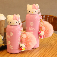 280ml Cartoon Hello Kitty Bottle Stainless Steel Cute Thermos  Bottle 2016 water bottle For Kids garrafa de agua