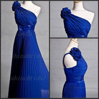 Real A-line One-shoulder Sleeveless Floor-length Chiffon Flowers Blue Long Bridesmaid Dresses Prom Dresses Evening Dresses 2014 New Arrival
