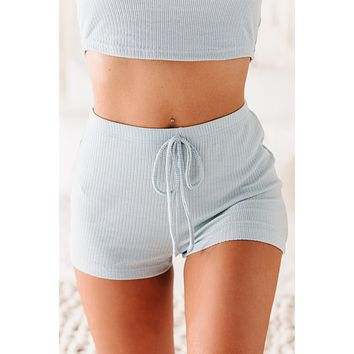 Slowing Down High Rise Ribbed Lounge Shorts (Blue)