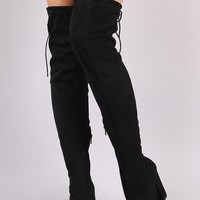 Suede Drawstring Tie Pointy Toe Over-The-Knee Boots