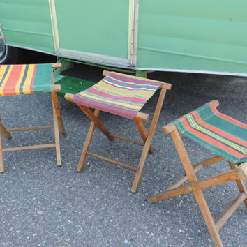 Vintage Camping Chairs Wood and Canvas Chairs Green Chairs Red Chairs Glamping Chairs Striped Canvas Chairs Retro Camping Vintage Camp