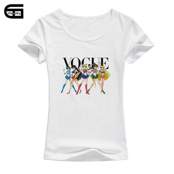 2018 Brand Women T Shirt Vogue Sailor Moon Print Tshirt Women Short Sleeve Casual Shirt For Lady Tops Tees Hipster T-shirt B215