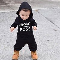 Autumn&Winter born baby clothes infant baby boy Rompers Cotton Long Sleeve mini boss Hooded kids Jumpsuits Onesuit