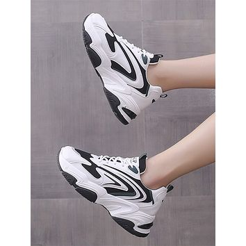 Colorblock Graphic Lace-up Front Chunky Sneakers