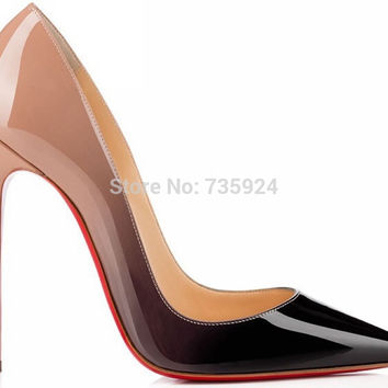 2015 brand red bottom high heels patent leather women pumps pointed toe sexy ladies stiletto shoes woman plus size 35-43