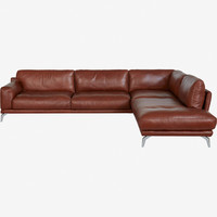 Peruna Leather Sectional Right Chaise