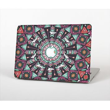 The Mirrored Coral and Colored Vector Aztec Pattern Skin Set for the Apple MacBook Pro 13""