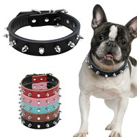Wide Cool Spiked Padded Leather Dog Collars