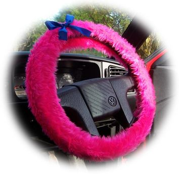 Barbie Pink fluffy faux fur car steering wheel cover with Royal Blue satin Bow