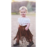 Long Maxi Faux Suede Fringe Skirt for Little Cowgirls