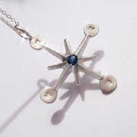 Pablo Valencia- Sterling Silver and Blue Sapphire Compass Wind Rose Necklace