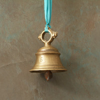 Vintage Brass Bell with Blue Ribbon Stamped Number 6