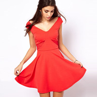 Halter V-Neck  Mesh Cutout Skater Dress