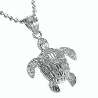 14K SOLID WHITE GOLD SPARKLY DIAMOND CUT HAWAIIAN SEA TURTLE HONU PENDANT SMALL