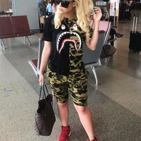 BAPE AAPE Hot Sale Fashion Women Casual Camouflage Short Sleeve Top Shorts Set Two-Piece Sportswear