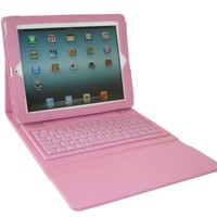 Pink Leather Case With Wireless Bluetooth Keyboard For Apple iPad 4 3 2